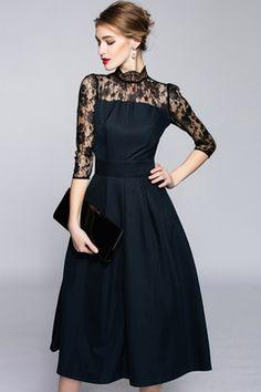 Encaje / Mezcla con costuras de los vestidos de Midi