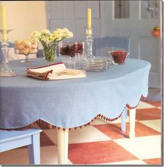 Round oilcloth tablecloths in solid colors collection kitchen love this scalloped with pom poms table cloth workwithnaturefo
