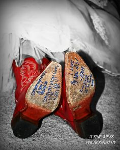 """""""Something Blue"""" The bride got her bridesmaids to sign the bottom of her red cowgirl boots in blue sharpie. Red Cowgirl Boots, Red Boots, Fiery Red, Something Blue, Groomsmen, My Photos, Sharpie, Bridesmaids, Photography"""