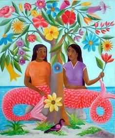 Sirenes avec Arbre de Fleurs by Fernand Pierre Siren Mermaid, Mermaid Cove, Black Mermaid, Mermaid Art, Caribbean Culture, Caribbean Art, Real Mermaids, Mermaids And Mermen, Goddess Of The Sea