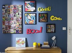 28 decorating ideas for a children's room on the theme of superheroes Page 2 of 4 Boys Room Decor, Boy Room, Kids Bedroom, Bedroom Decor, Childrens Wall Murals, Marvel Room, Marvel Marvel, Superhero Room, Home Decor