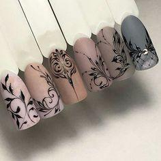 filigree fine line nail art Lace Nails, Rhinestone Nails, Flower Nails, Nail Art Arabesque, Swirl Nail Art, Line Nail Art, Lines On Nails, Chic Nails, Manicure E Pedicure