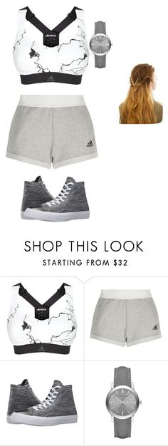 """""""jogging outfit"""" by martinalouise-chavez ❤ liked on Polyvore featuring adidas, Converse, Burberry and WithChic"""