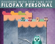 OWLS Dividers  top tabs for Filofax Personal