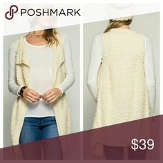 """NEW! """"Kori"""" Vest Cardigan Keep warm in style with this knitted vest cardigan. Features sleeveless, front drop design. Perfect for crisp fall/winter weather.   Color: Vanilla Material: 60% cotton, 40% acrylic Sizes: S,M,L Wild Plum Jackets & Coats Vests"""