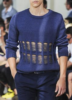 "monsieurcouture: "" Corneliani S/S 2014 "" - Knit Dreams from MitiMota - beautiful blue sweater w/ dropped stitches"