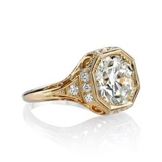 Edwardian Inspired 3.81 Carat Old European Cut Diamond Gold Engagement Ring 2