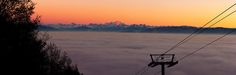 Mont Blanc Sunset Panorama with Ski Lift | prints available with worldwide shipping at davidmorsephotography.smugmug.com