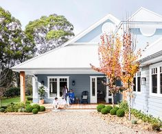 Timeless colour schemes, aged timbers and antiques all imbue this new home in the NSW Southern Highlands with real character. Exterior Color Schemes, Exterior House Colors, Exterior Paint, Exterior Design, Colour Schemes, Exterior House Paints, Weatherboard House, Queenslander, Australian Homes