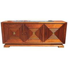 Masterpiece French Art Deco Solid Mahogany Sideboard or Buffet by Maxime Old 19940