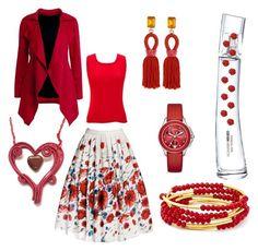 """Style Yourself Red"" by monika-przymuszala ❤ liked on Polyvore featuring Kenzo, Rumour London, Oscar de la Renta, jon & anna, Chrysalis and Michele"