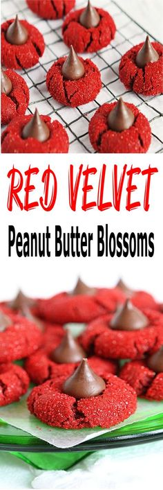 Red Velvet Peanut Butter Blossoms - make your holiday sparkle and shine with this easy dessert recipe for Christmas- Red Velvet Peanut Butter Blossoms! This is one delicious homemade peanut butter recipe perfect to make for kids and the whole family! For more simple and easy dessert recipes to make, check us out at #iambaker. #desserts #yummydesserts #recipeoftheday #christmas