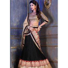 Black Net Lehenga Choli with Embroidery Work Lehenga Choli Online, Bridal Lehenga Choli, Lehenga Saree, Anarkali, Indian Wedding Outfits, Indian Outfits, Indian Sarees Online, India Fashion, Fashion 2015