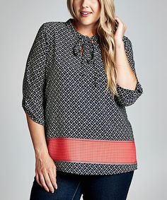 Look at this Navy & Coral Abstract Tie-Neck Top - Plus on #zulily today!