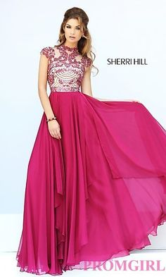 Cap Sleeve Long Beaded Prom Dress Sherri Hill 1933. Shop the look: http://www.promgirl.com/shop/dresses/viewitem-PD1281943