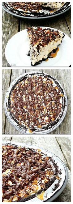 Snickers and Turtles Frozen Pie - NO BAKE! | www.diethood.com