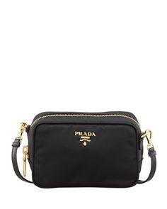 Tessuto Small Crossbody Bag, Black (Nero) by Prada at Neiman Marcus.