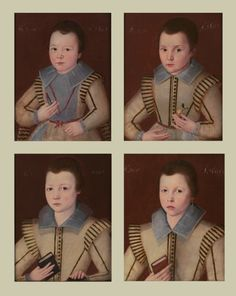 ab. 1610 English School - Four Portraits of the Young Sons of Sir John Ffolliott