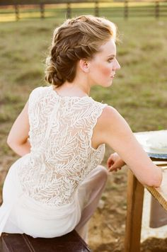 A French braid updo is exactly what your wedding day needs.