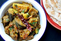 Gujarati Ringan batata nu shaak/spicy eggplant and potato curry