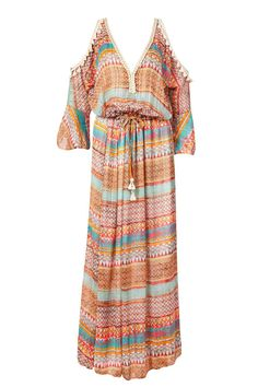 Perfect for poolside glamour this My Story Paris maxi kaftan open shoulder dress will ensure comfort and style. Crafted from a lightweight chiffon blue Aztec printed with silver lurex threads and a pretty tassel V neckline. This designer dress slips effortlessly over a bikini for lunch or a stroll along the beach or glam it up with boho bangles for nights out.  Off-The-Shoulder Maxi Dress by My Story. Clothing - Dresses - Maxi Netherlands