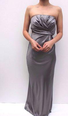 Karen Millen Grey Satin Wedding Ballgown Evening Bandeau Cocktail Dress 8 36 New #KarenMillen #Maxi #SpecialOccasion