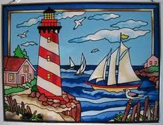 Stained glass - lighthouse and sail boats Stained Glass Church, Stained Glass Light, Stained Glass Designs, Stained Glass Panels, Stained Glass Projects, Stained Glass Patterns, Rainbow Glass, Mosaic Glass, Photos