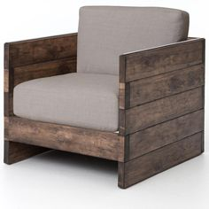 The Franklin Chair has a neutral linen seat, reclaimed oak and acid-washed iron strapping along each arm.