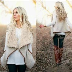 LAST❗️ Faux fur shearling vest Faux Shearling Vest. COLOR:VANILLA This shearling vest looks amazing with jeans and boots! Fall Winter Outfits, Autumn Winter Fashion, Winter Clothes, Look Fashion, Fashion Tips, Fashion Design, Fashion Trends, Shearling Vest, Outfit Invierno