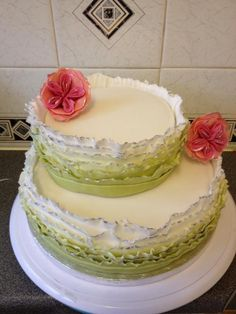 layered ruffles with flower