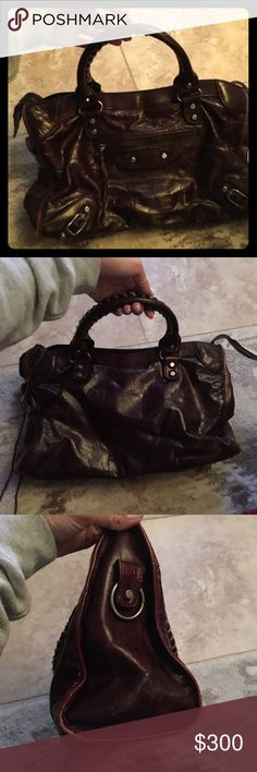Balenciaga Moto City Handbag brown / burgundy Used condition but still looks great.  See photos for wear and condition on piping.  Also the leather strings are missing on one of the zippers.  No over shoulder strap.  Authentic!  Need to sell...all reasonable offers welcome. Balenciaga Bags Shoulder Bags