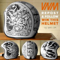 Were giving away this hand drawn Biltwell helmet! Bobber Custom, Custom Helmets, Biltwell Helmet, Motorcycle Helmet Design, Cafe Racer Helmet, Bmx, Helmet Head, Vintage Helmet, Helmet Paint