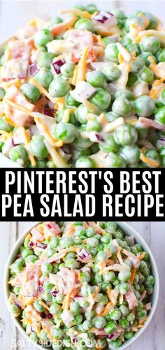 Pea Salad with red onions and cheese is a quintessential recipe for spring and summer with its creamy texture and taste. Pea Salad Recipes, Pea Recipes, Healthy Salad Recipes, Side Dish Recipes, Vegetarian Recipes, Cooking Recipes, Recipe For Salad, Dinner Salad Recipes, Whole30 Recipes