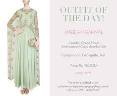 Celedon Green Floral Embroidered Cape Anarkali Set #aneeshagarwal #designer #ootd #floral #embroidery #anarkali #perniaspopupshop #happyshopping