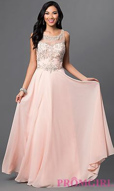 0c8470b1d33 Beaded Long Blush Pink Prom Dress by Dave and Johnny at PromGirl.com Blush  Pink