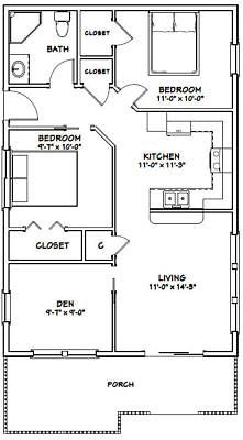 24x36 House 2 Bedroom 1 Bath 864 Sq Ft Pdf Floor Plan Model 1a Small House Floor Plans Guest House Plans Tiny House Floor Plans