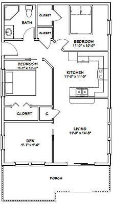24x36 House 2 Bedroom 1 Bath 864 Sq Ft Pdf Floor Plan Model 1a