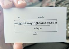 a very simple business card with all info in one box! Jealous!!