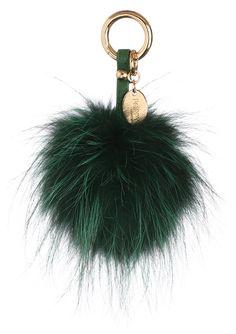 Emerald Green Silver Fox Fur Pom Pom Keyring