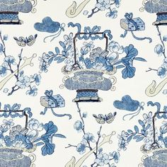 The House of Scalamandre Shanghai Blossoms Fabric (Set of Color: China Blue Blue China, Textile Prints, Textiles, Blue Fabric, Decorative Objects, Chinoiserie, Shanghai, Printing On Fabric, Artwork