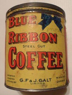 Blue Ribbon Coffee Coffee Jars, Coffee Tin, I Love Coffee, Coffee Break, Morning Coffee, Vintage Tins, Vintage Coffee, Vintage Kitchen, Products