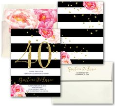 Peony Gold Pink Striped 40th Birthday Invitation // Fortieth Birthday Invitation // Black white stripes // Floral // CLEARWATER COLLECTION by MerrimentPress on Etsy https://www.etsy.com/listing/497080389/peony-gold-pink-striped-40th-birthday