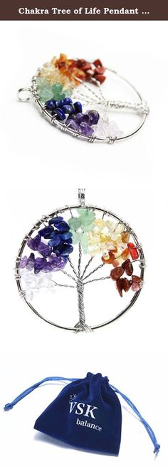 Chakra Tree of Life Pendant (Chakra 7 colors). A beautiful handmade Tree of Life pendant has a very special meaning. We all come from the roots, tree means family, love, balance. We offer this tree for your spirit and soul. Made with natural crystals it can bring you the energy you are seeking for and connection with the Universe. The Tree has 7 different stones: Crystal, Amethyst, Coral, Aventurine, Lapis Lazuli, Agate and Citrine. Comes with a leather 16inch necklace. Perfect gift for...