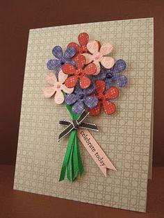 paper shapers retro flower punch. ribbon as stems. embossed kraft c/s. gems? stickles?