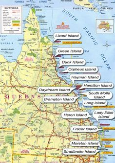 Great Barrier Reef Map along Queensland Australia Tasmania, Queensland Australien, Brisbane Queensland, Great Barrier Reef Australia, Work And Travel Australien, Places To Travel, Places To Visit, Vacation Places, Travel Destinations