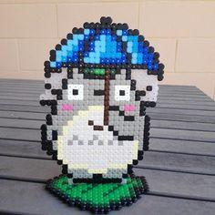 Totoro perler beads by rainbow_ironed Hama Beads 3d, Hama Beads Patterns, Beading Patterns, Totoro, Diy And Crafts, Arts And Crafts, Iron Beads, Crafty Craft, Studio Ghibli