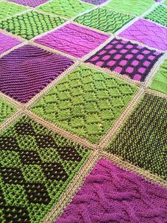 Ravelry Learn to Knit Afghan -- combine all kinds of knitting techniques in a single project -- and more sampler stitch knitting patterns - Knitting Squares, Knitting Stiches, Arm Knitting, Knitting Patterns Free, Crochet Patterns, Knitted Afghans, Knitted Baby Blankets, Knitted Blankets, Afghan Patterns