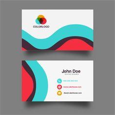 Colorful Wave Business Card Design Free Vector => More at designresources.io
