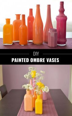 76 Crafts To Make and Sell - Easy DIY Ideas for Cheap Things To Sell on Etsy, Online and for Craft Fairs. Make Money with These Homemade Crafts for Teens, Kids, Christmas, Summer, Mother's Day Gifts. | DIY Painted Ombre Vases | diyjoy.com/crafts-to-make-and-sell