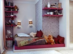 Bedroom, Pink Platform Bed Contemporary Teenage Girls Bedroom Blanket Pillows Dools Wall Lamps Alphabet Wallpaper Hot Pink Bookshelves Books Cream Shag Rug Wooden Floor Vase Clock And Curtain ~ Beautiful Teenage Room As Well As Possible Girls Bedroom Colors, Teenage Girl Bedroom Designs, Bedroom Decor For Teen Girls, Pink Bedrooms, Teenage Girl Bedrooms, Teenage Room, Boys Room Decor, Girl Room, White Bedroom Decor